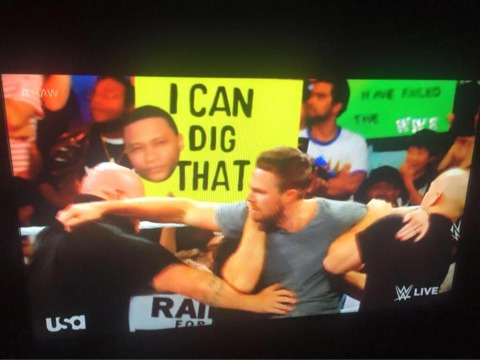 Raw in Everett, Wa: Stephen Amell & Stardust's Confrontation segment. My Diggle/BookerT sign made it in