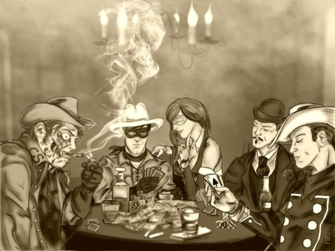 Various western characters playing poker by @redscare