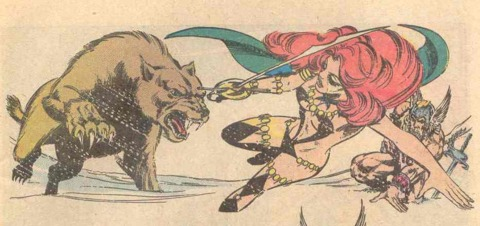 Mariah fighting a giant wolverine