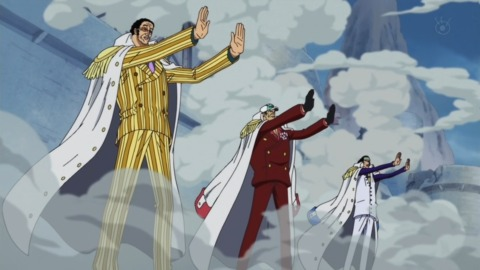 The three Admirals forming a Busoshoku barrier to stop Whitebeard's Quake
