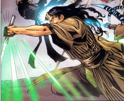 Wolf Sazen utilizing Shien's reverse grip against enemy Sith.