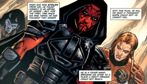 Ganner, alongside Shado Vao and Antares Draco, going undercover to the Sith Temple.