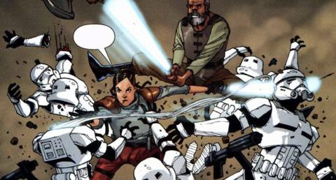 Sigel defeats stormtroopers alongside Treis Sinde.