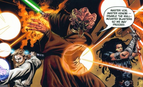 Koon fighting alongside Obi-Wan and Quinlan Vos.