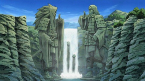 Madara and Hashirama's statues at the Valley of the End.