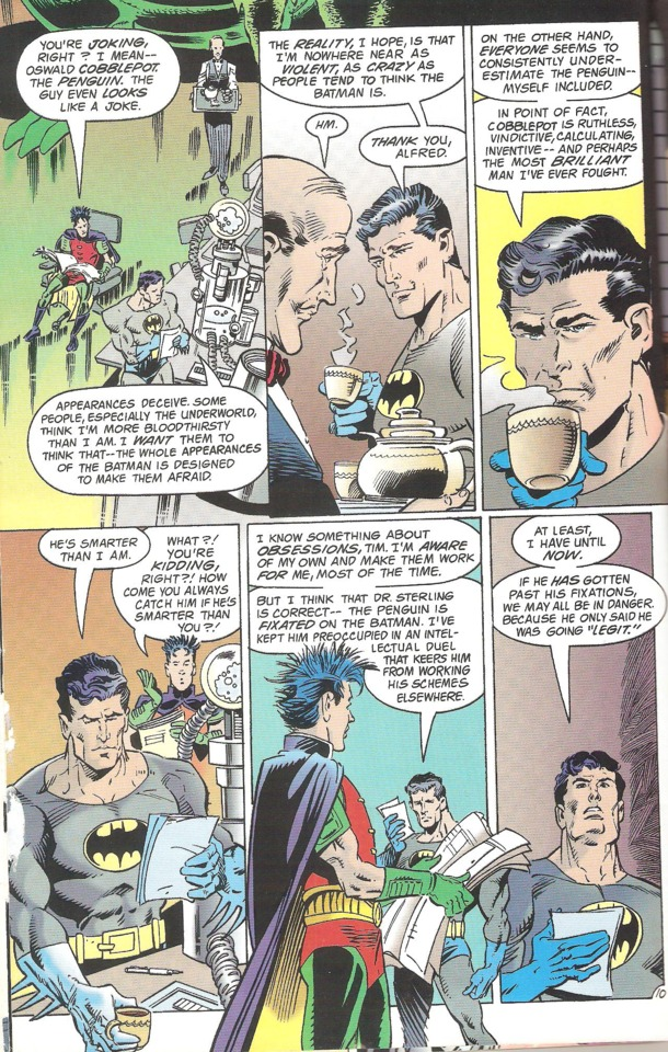 Batman discussing the Penguin with (Tim Drake) Robin.