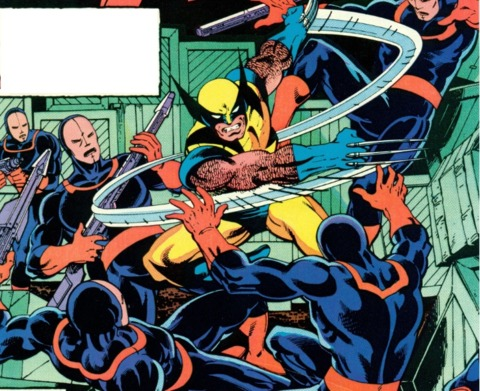Wolverine fighting the future Reavers