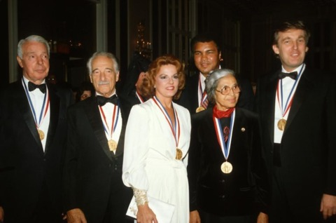 Trump, in the 1980s, beside Rosa Parks and Muhammad Ali