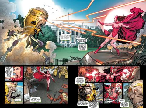 Wanda displaying her powers in AvX #0