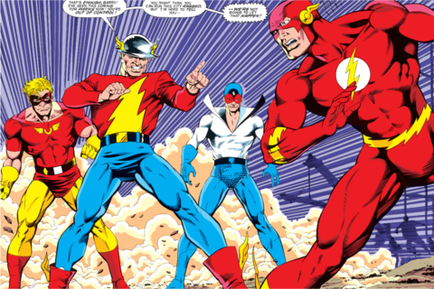 Original three speedsters, Johnny Quick (on the left), Jay Garrick (in the middle) and Max Mercury (on the right) confront Barry.