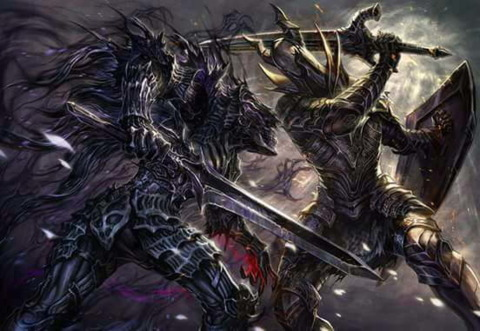 Abyssal Thralls engaging the Silver Knights of Anor Londo
