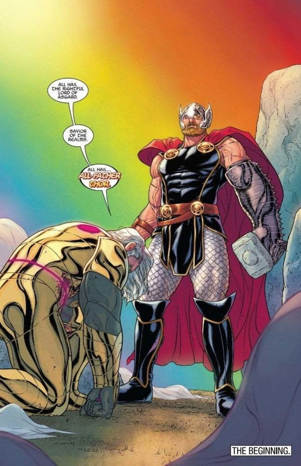 Odin appointing Thor as the new All-Father of Asgard.