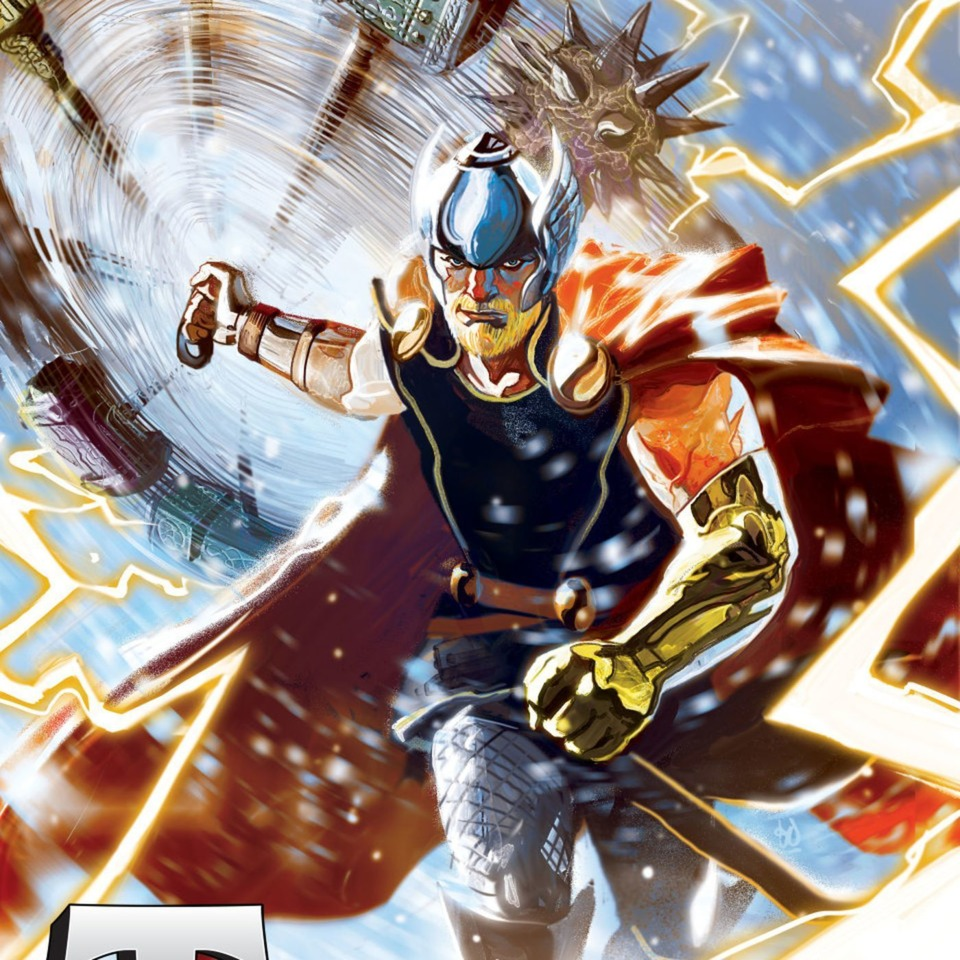 Thor, with his new hammers and a golden arm, in his new look.