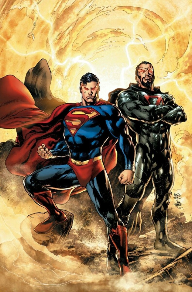 Superman and Zod standing together against Rogol Zaar