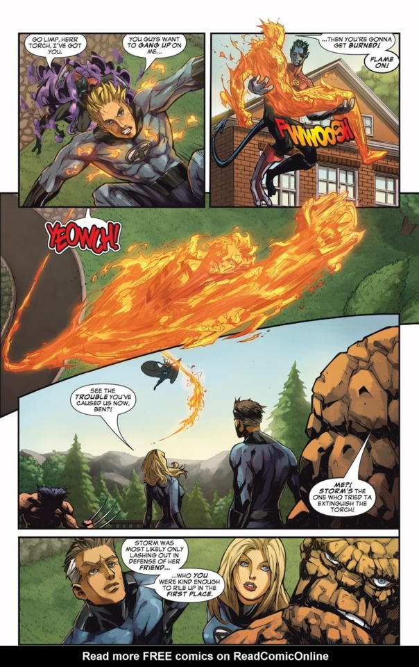 he tries to hit her with his fire blast and then she dodges and they both fight off panel until Emma appears.