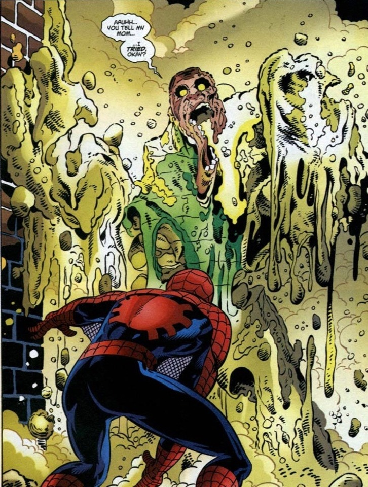 Sandman falling apart after his bite from Venom becomes too much to bear