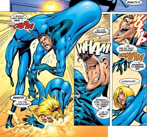An invisible enemy impacting Mr. Fantastic's body