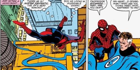 Spider-Man finds Mr. Fantastic weakened after being overstretched by Gladiator