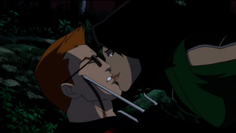Pinning and kissing Roy long enough for Artemis to see