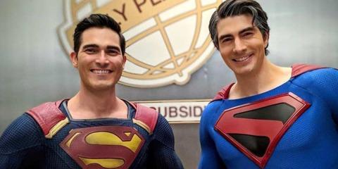 Tyler Hoechlin and Brandon Routh as Superman
