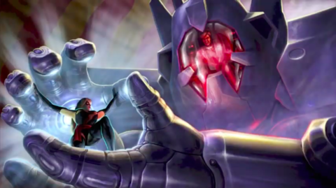 The boss fight with Arcade in Ultimate Alliance