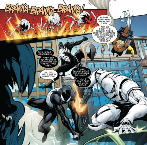 Flash, Spidey, and Venom enter the fight