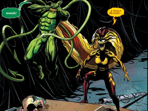 Scream takes on the other five symbiotes