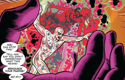 Silver Surfer attempts to stop Dawn from being imbued with the power cosmic