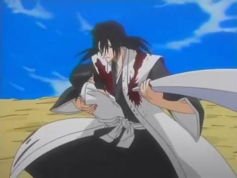 Byakuya saves Rukia.