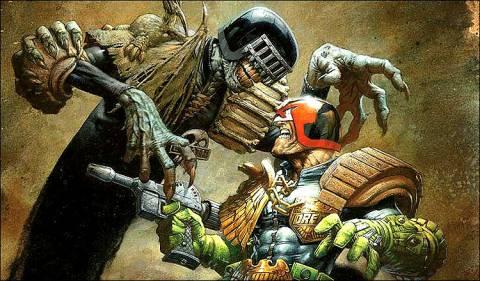 Judge Death facing off against Judge Dredd