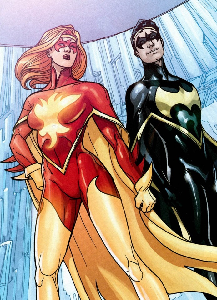 Thara and Chris's first Flamebird and Nightwing uniforms