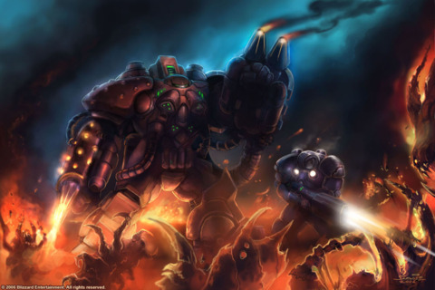 Firebat: The Firebat armor is equipped with large flamethrowers on it's arms. (marine on right)
