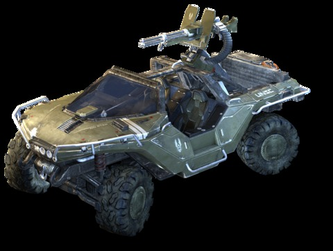 Warthog: The warthog was a light reconnaissance vehicle used by the UNSC. It can reach speeds up to 70 mph, and go over almost all terrain. It is armed with a triple barreled 12.7 mm machinegun.