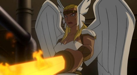 Hawkgirl/Angelique in JL: Crisis on Two Earths
