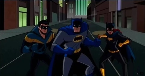 Batgirl, Batman and Nightwing in Batman: The Brave and The Bold
