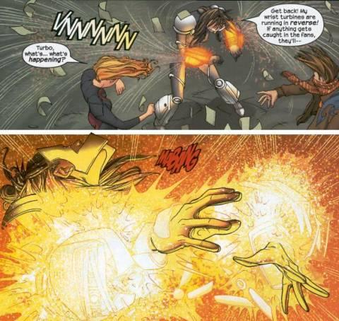 Nico's spell causes Turbo's gauntlets to break