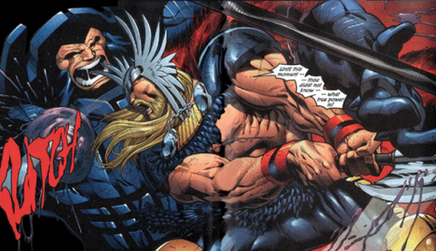 Thor slicing off Perrikus' arm using the Bloodaxe.