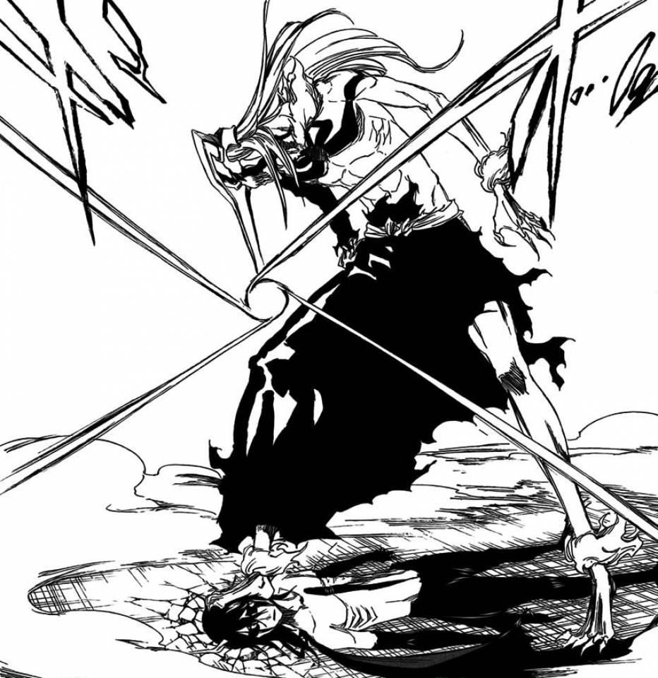 The Vasto Lorde Ichigo stands on Ulquiorra Cifer's head while preparing to fire it's Cero at point-blank range
