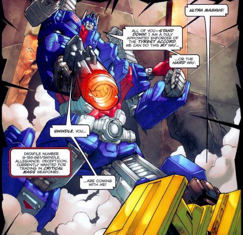 Ultra Magnus captures Swindle on Zull.