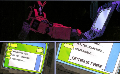 Ironhide sends a message to Optimus