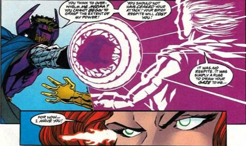 Maxima paralyzes Dr. Polaris with her stare.
