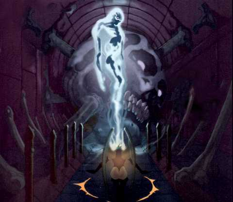 Sh'ri Valkyr kneeling before Starbreaker inside the Temple of the Luciphage.