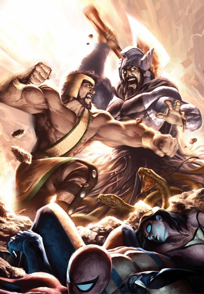 The epic final battle of Hercules and Typhon