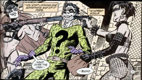 The Riddler's first encounter with Query and Echo, who were once biker-women.