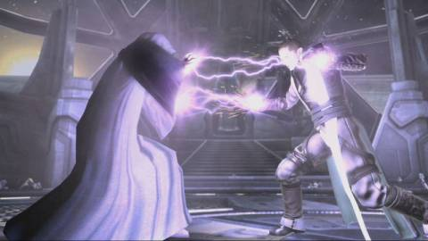 The Emperor and Starkiller engage in a Force Lock.