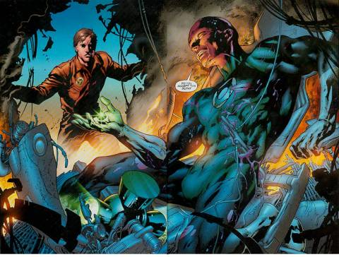 Abin Sur passing on his power ring to Hal Jordan