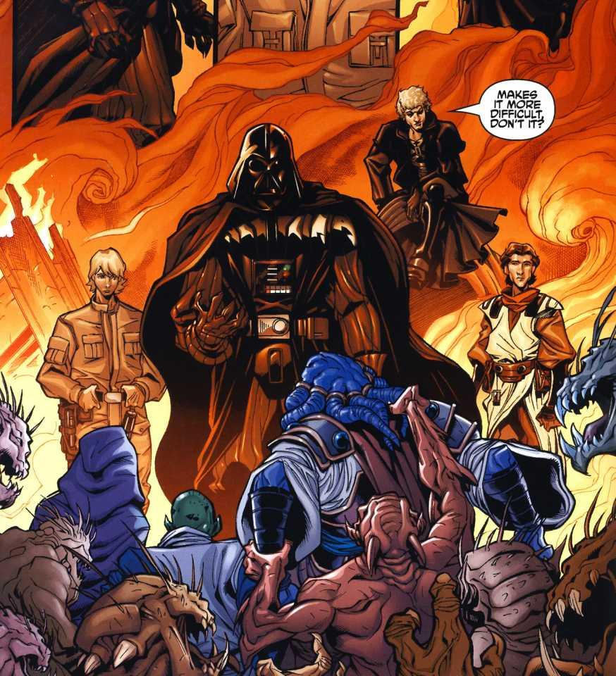 Luke Skywalker, Darth Vader, Cade Skywalker and Zayne Carrick