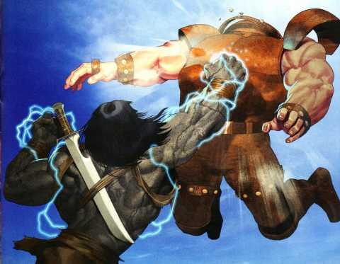 Skaar knocking Juggernaut into the Atmosphere