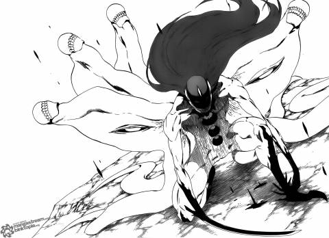 Aizen's final evolved form with the Hōgyoku