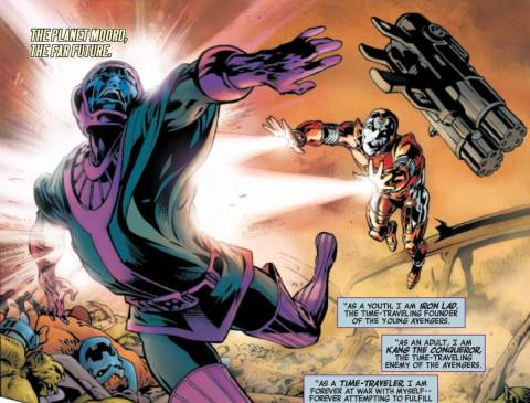 Iron Lad battles Kang in the future